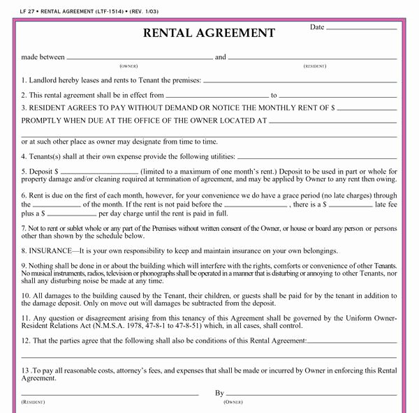 Free Printable Rental Agreements