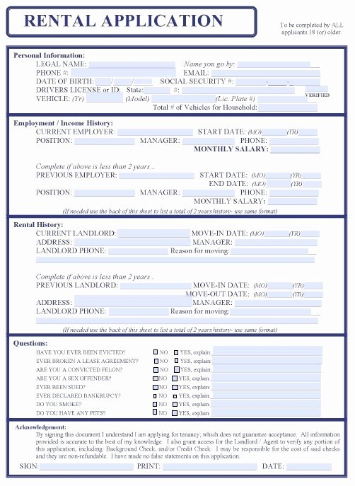 Free Printable Rental Application form