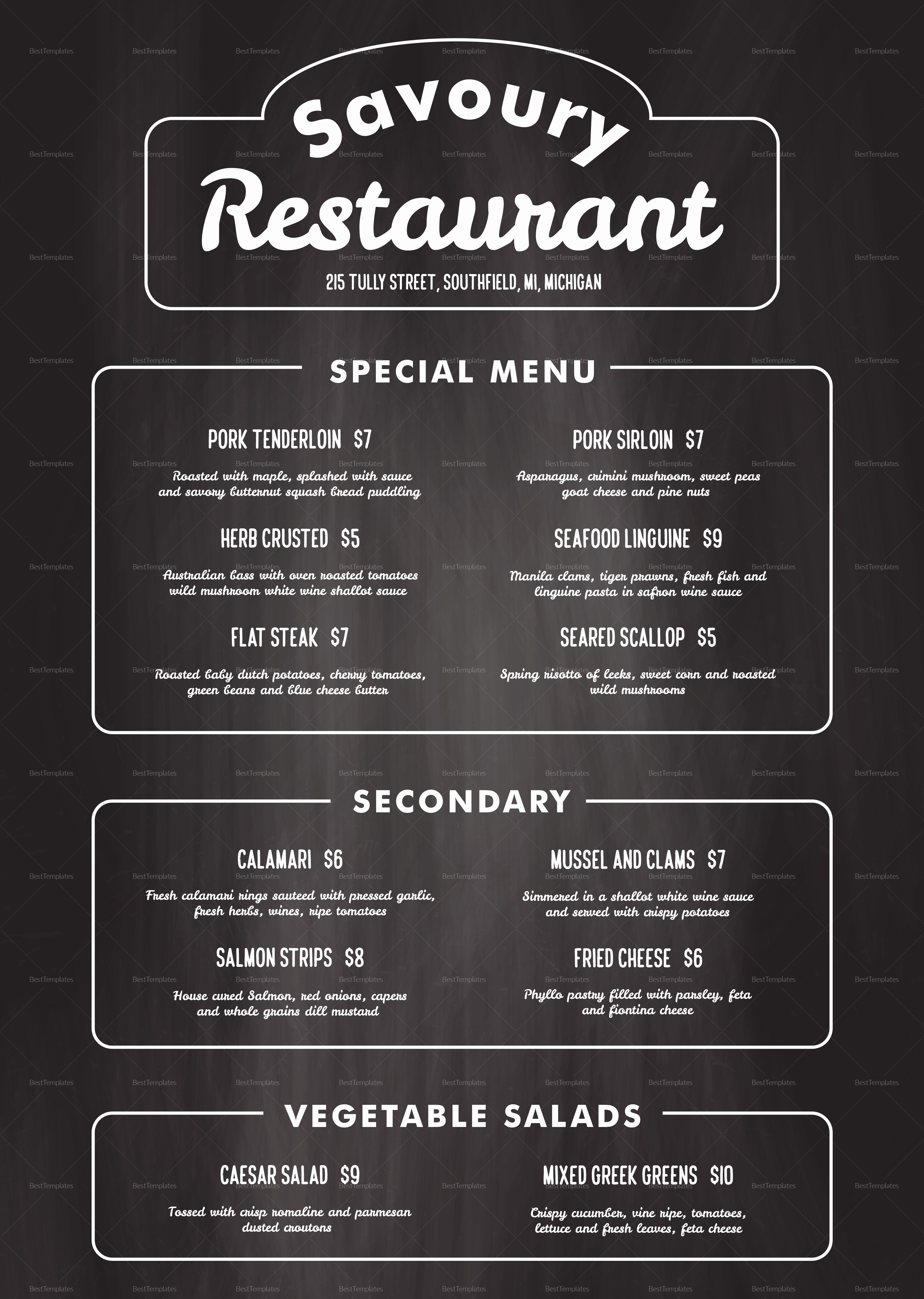 Free Printable Restaurant Menu Templates