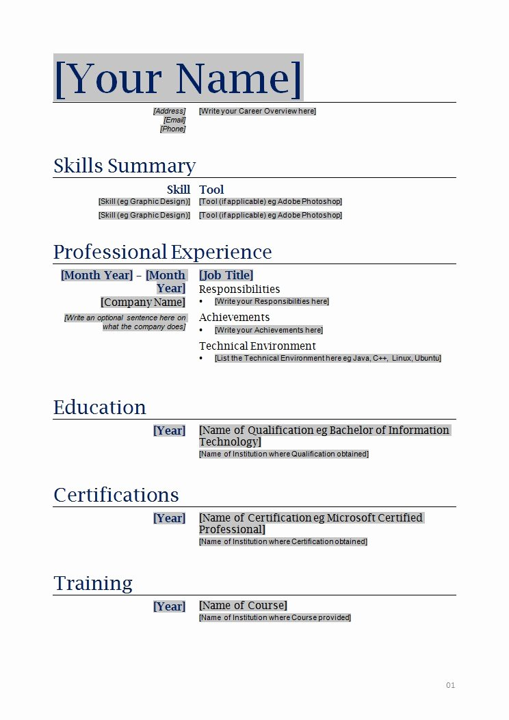 Free Printable Resumes
