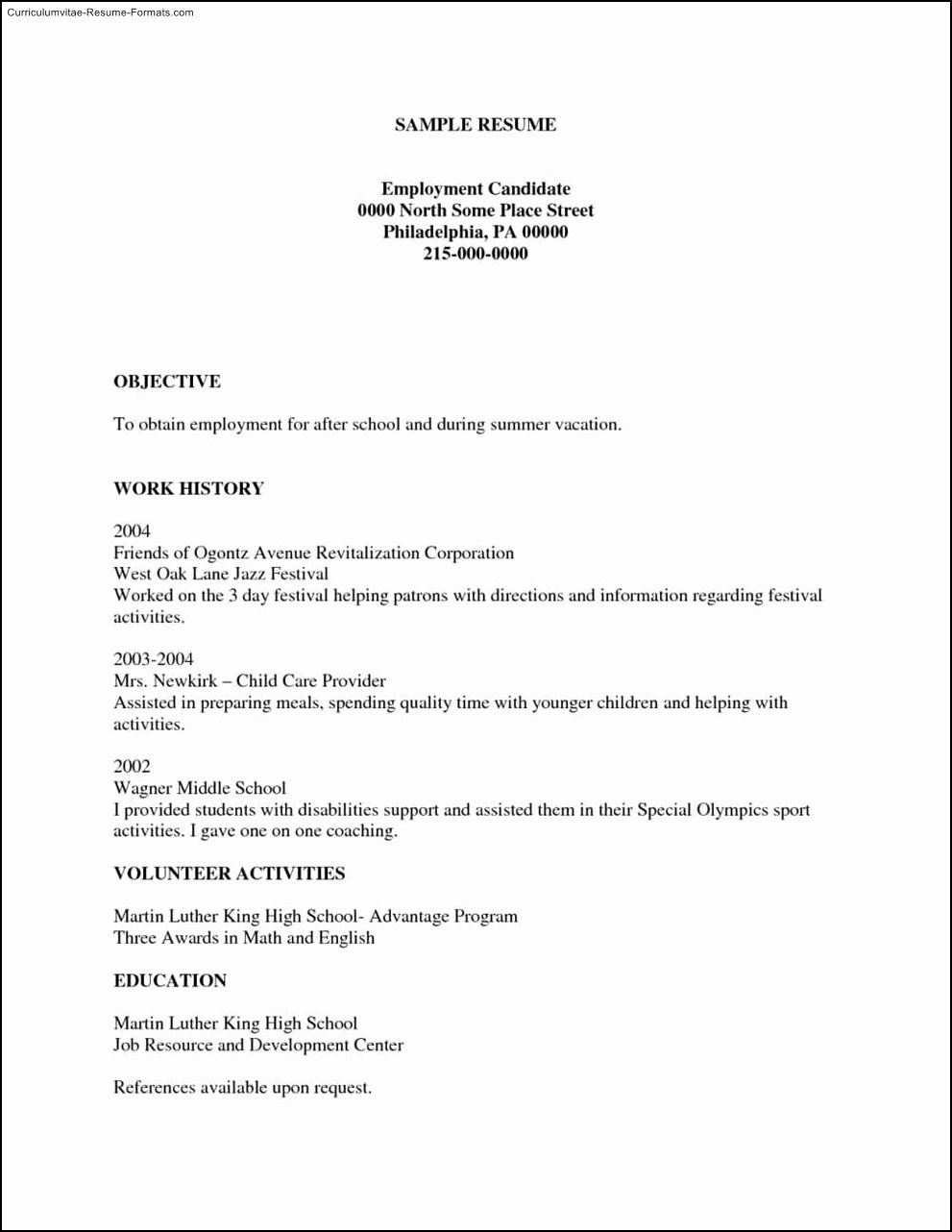 Free Printable Resumes Templates Free Samples Examples
