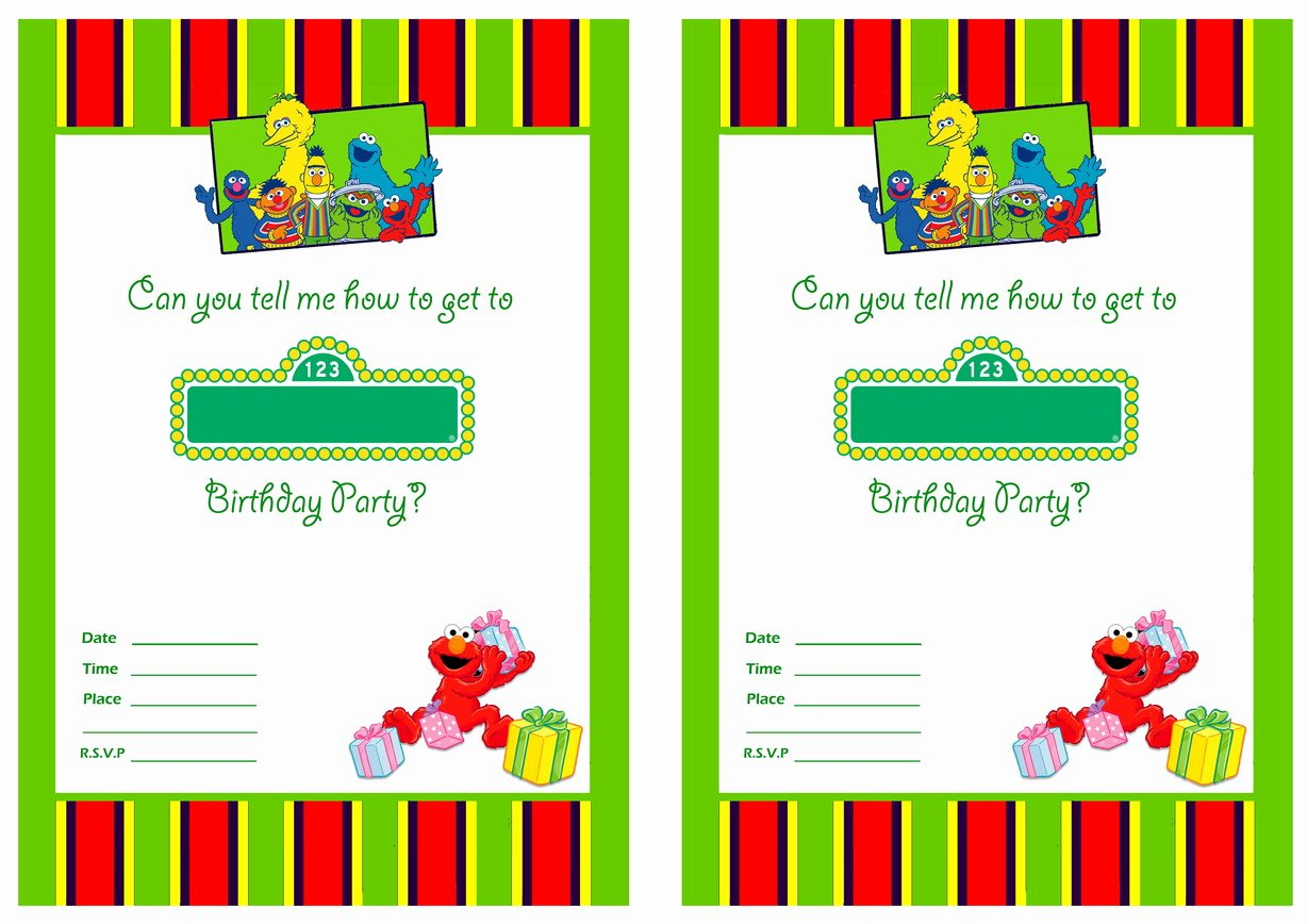 Free Printable Sesame Street 1st Birthday Invitations