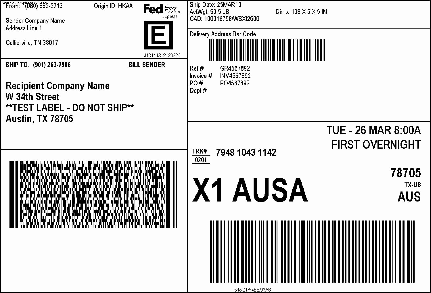 Free Printable Shipping Label Template Templates Data