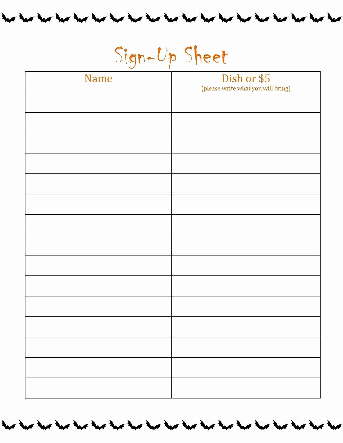 Free Printable Sign Up Sheet Printable