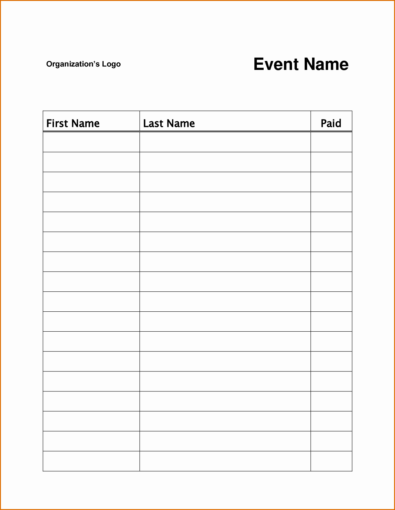 Free Printable Sign Up Sheet Template