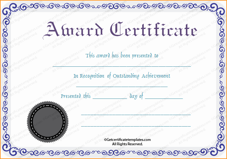 Free Printable Silver Award Certificate Template