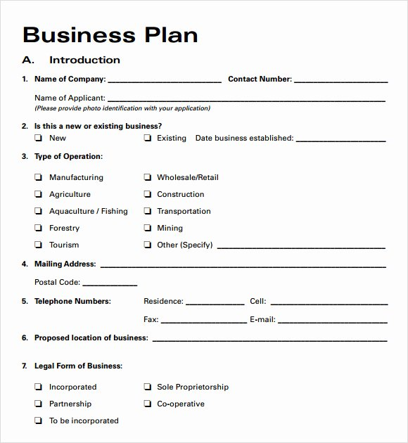 Free Printable Small Business Plan Template Business Plan