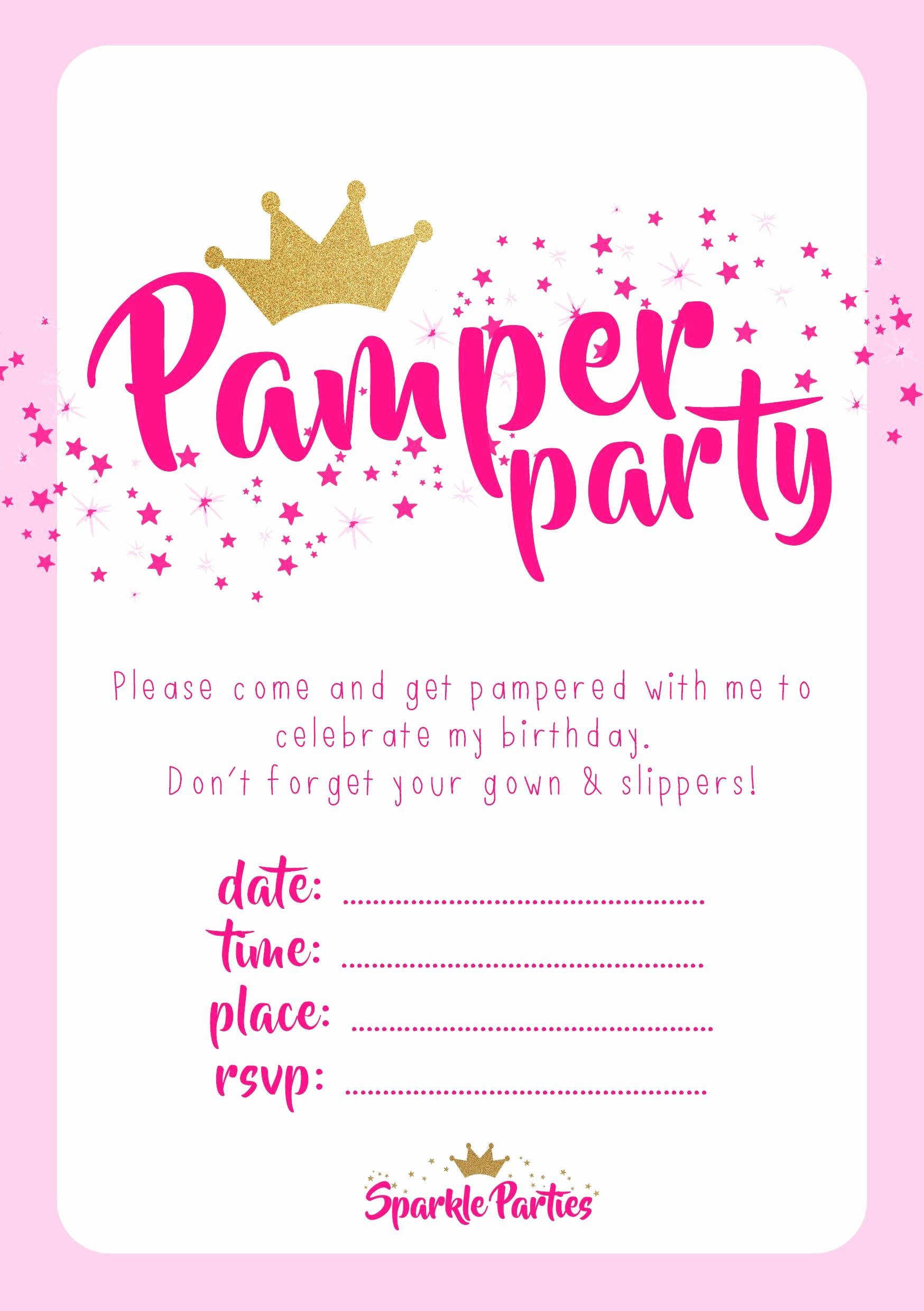 Free Printable Spa Party Invitations Templates Queen Int