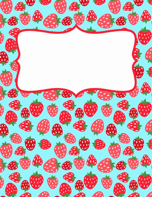 Free Printable Strawberry Binder Cover Template Download
