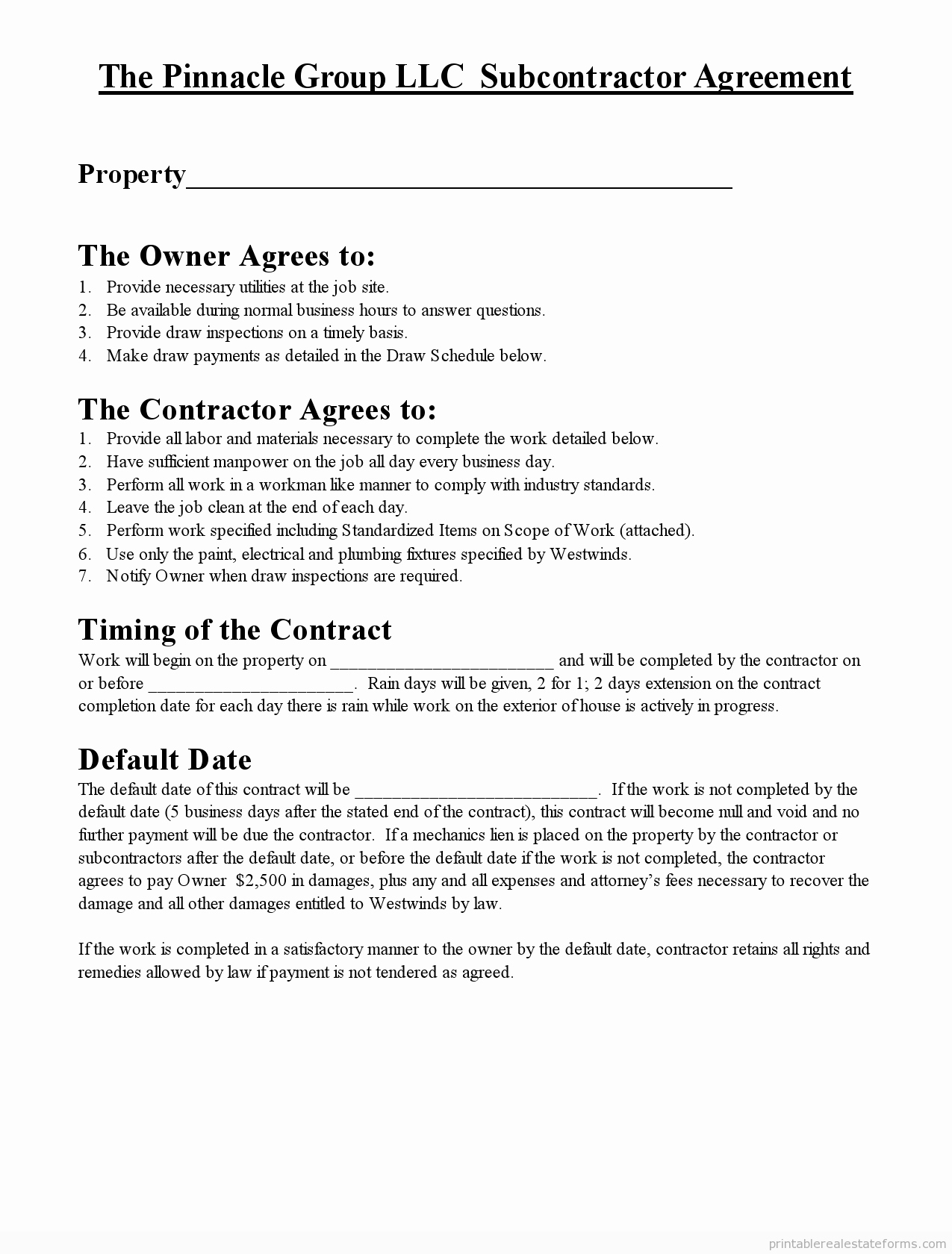 Free Printable Subcontractor Agreement form