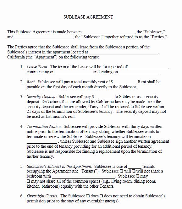 Free Printable Sublease Agreement Printable Agreements