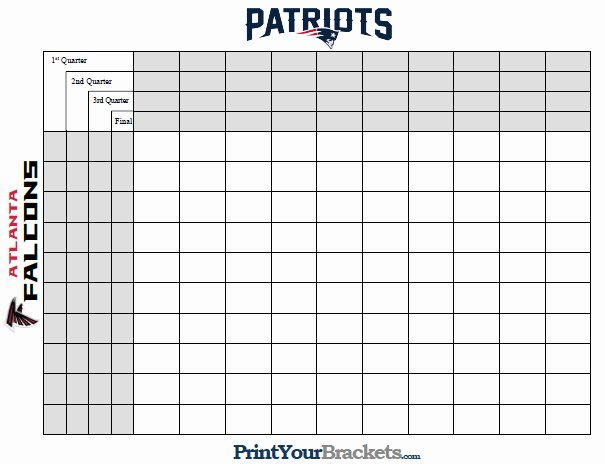 Free Printable Super Bowl Squares Template Sheet Pdf 50