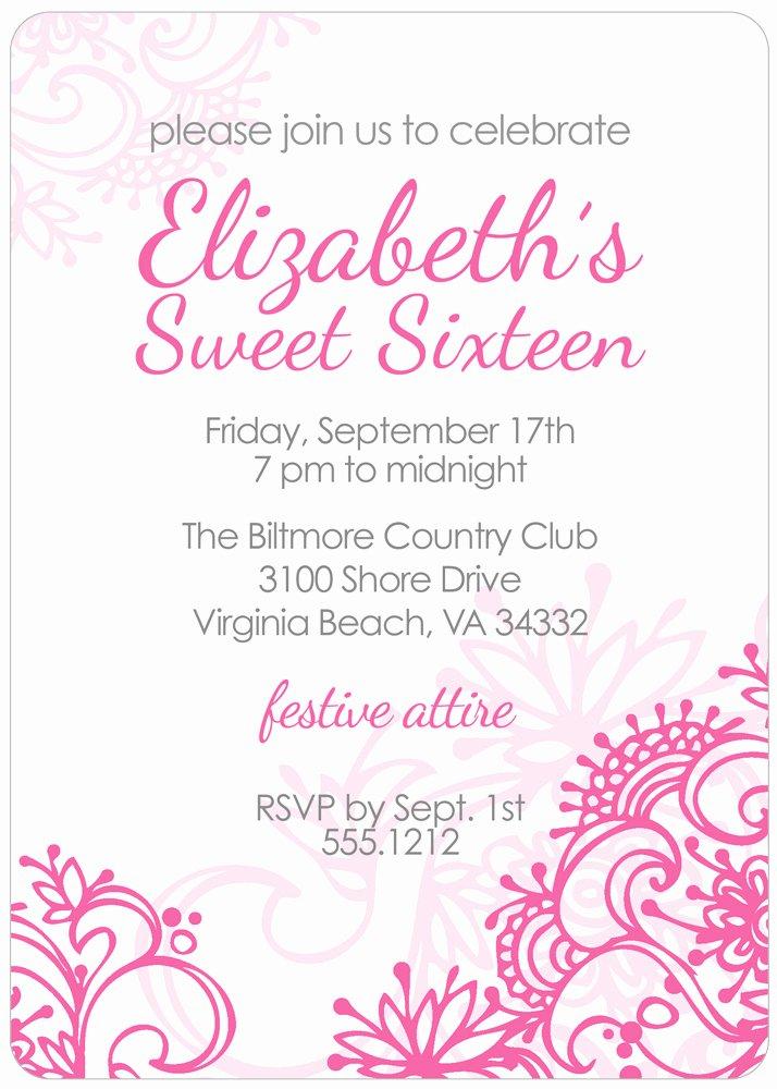 Free Printable Sweet 16 Birthday Invitations
