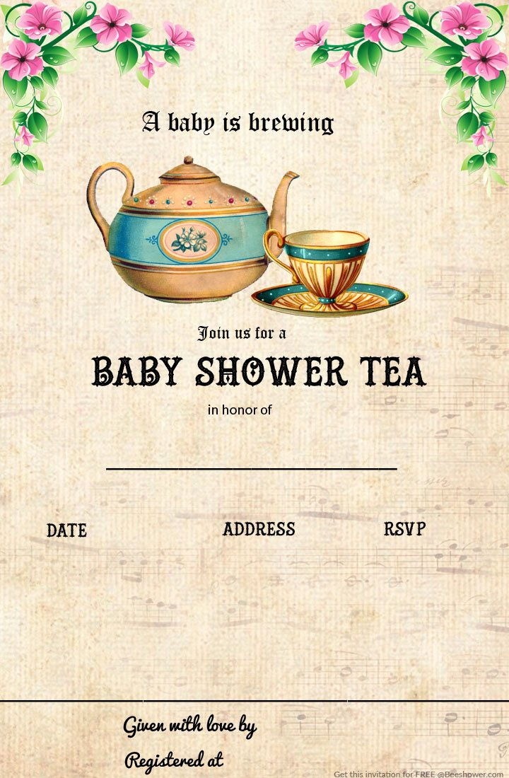 photo relating to Free Printable Tea Party Invitation Templates called Free of charge Printable Tea Social gathering Little one Shower Invitation Template