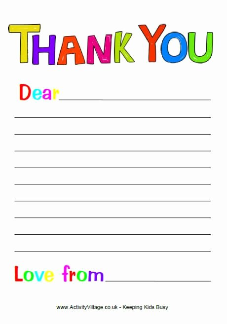 Free Printable Thank You Note Paper for Children