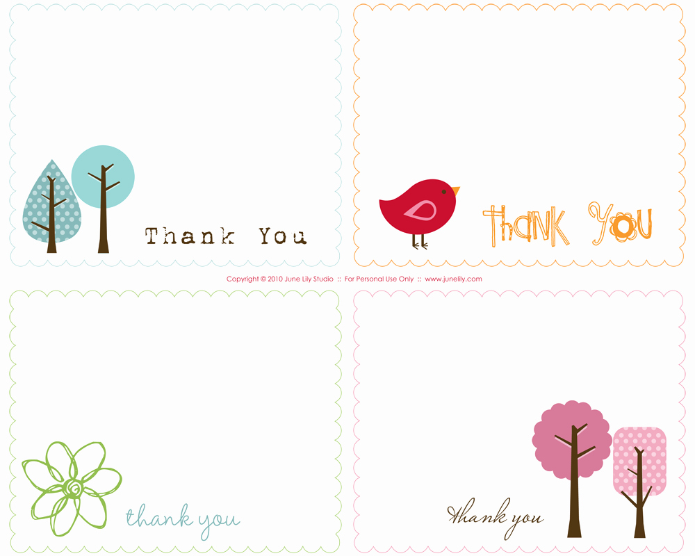 Free Printable Thank You Notes June Lily