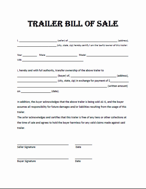 Free Printable Trailer Bill Of Sale All States F
