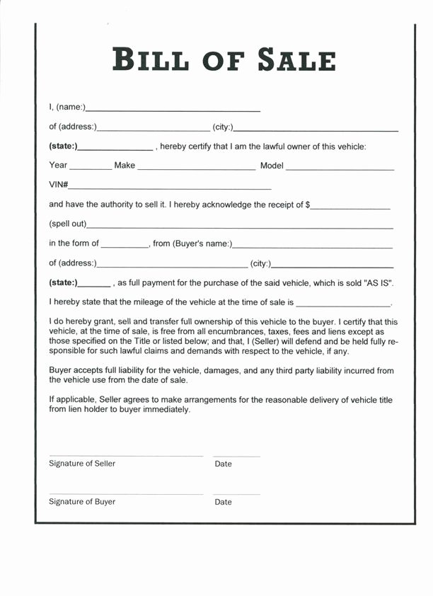 Free Printable Vehicle Bill Of Sale Template form Generic