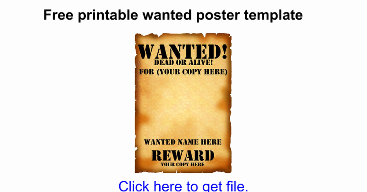 Free Printable Wanted Poster Template Google Docs