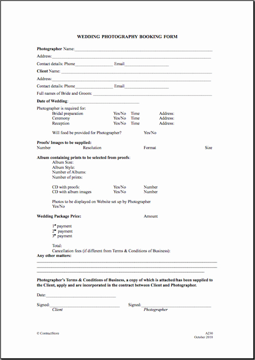 Free Printable Wedding Graphy Contract Template form
