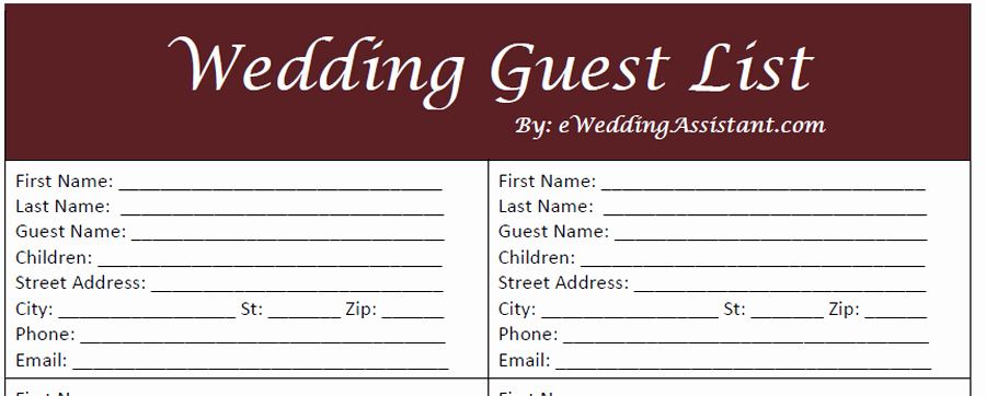 Free Printable Wedding Guest List Template