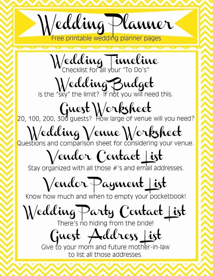 Free Printable Wedding Planner Includes Timeline Bud