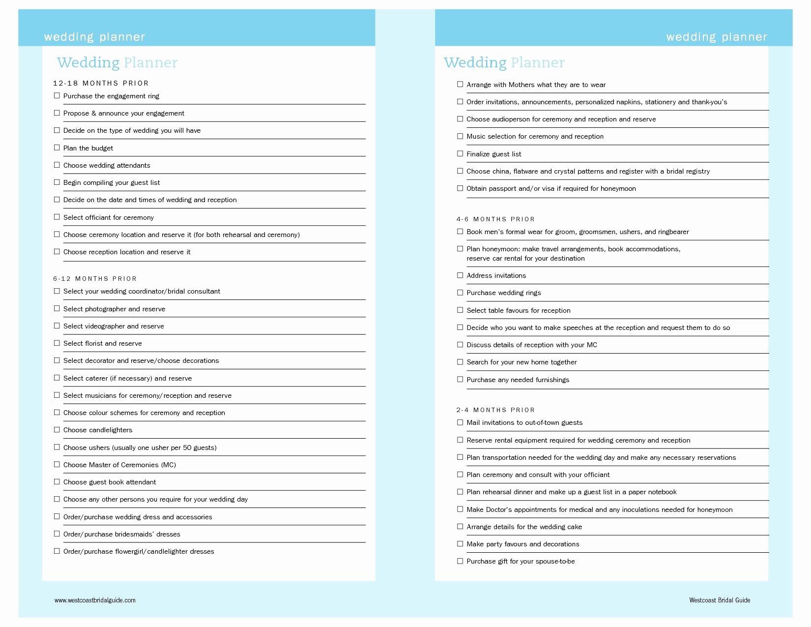 Free Printable Wedding Planner Templates Wedding Checklist
