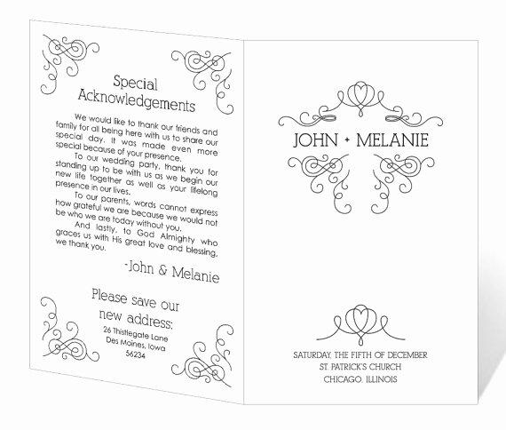 free printable wedding program templates word 5771