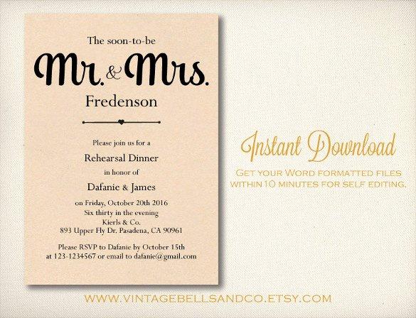 Free Printable Wedding Rehearsal Dinner Invitation