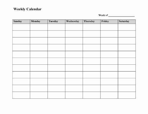 Free Printable Weekly Calendar Template