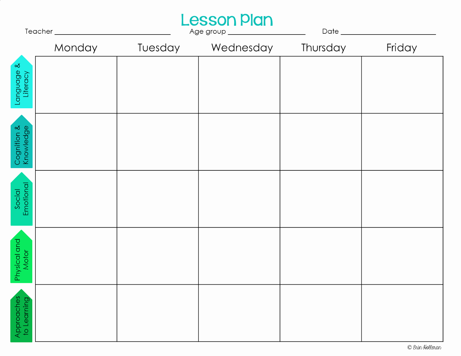 Free Printable Weekly Lesson Plan Template
