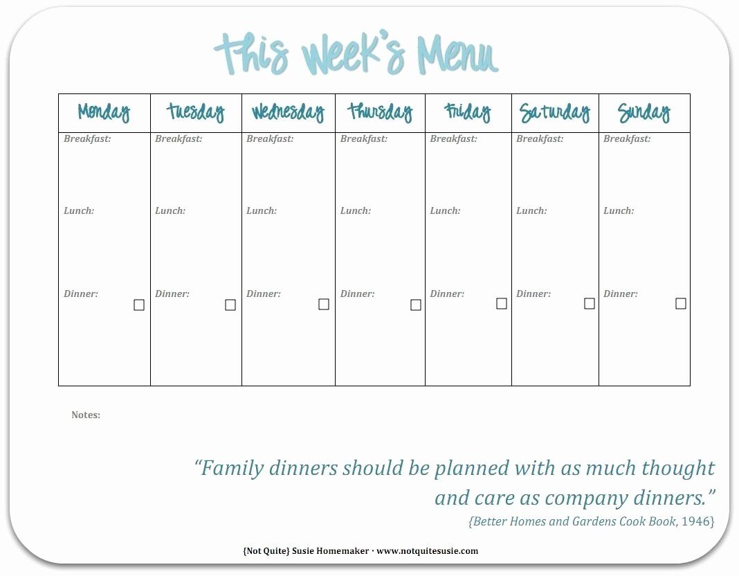 Free Printable Weekly Menu Template