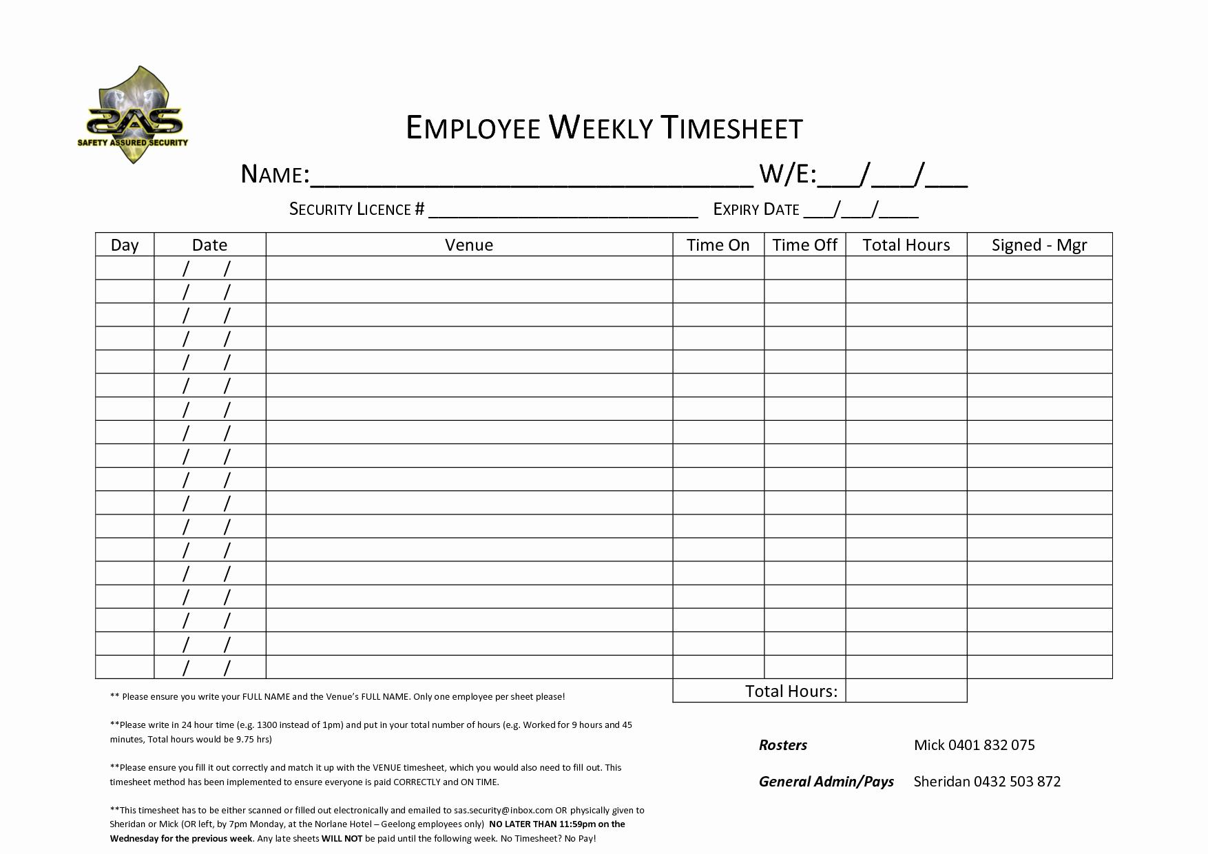 Free Printable Weekly Multiple Employee Timesheet