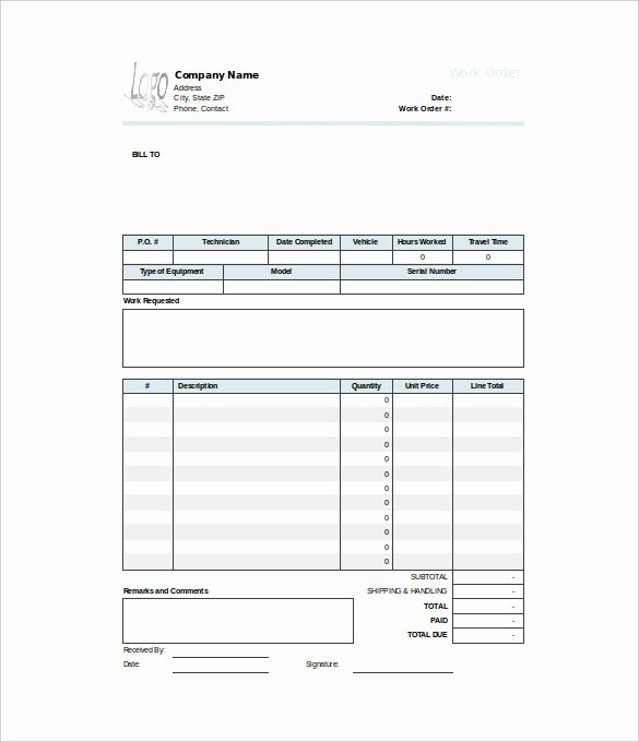 Free Printable Work order Template