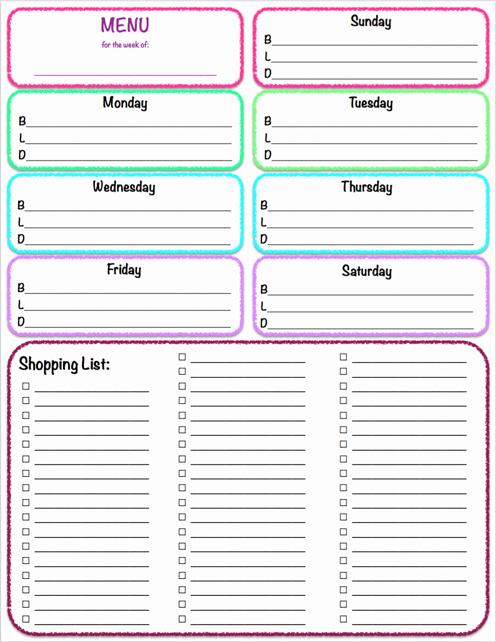 Free Printables Weekly Meal Planner & Grocery List the