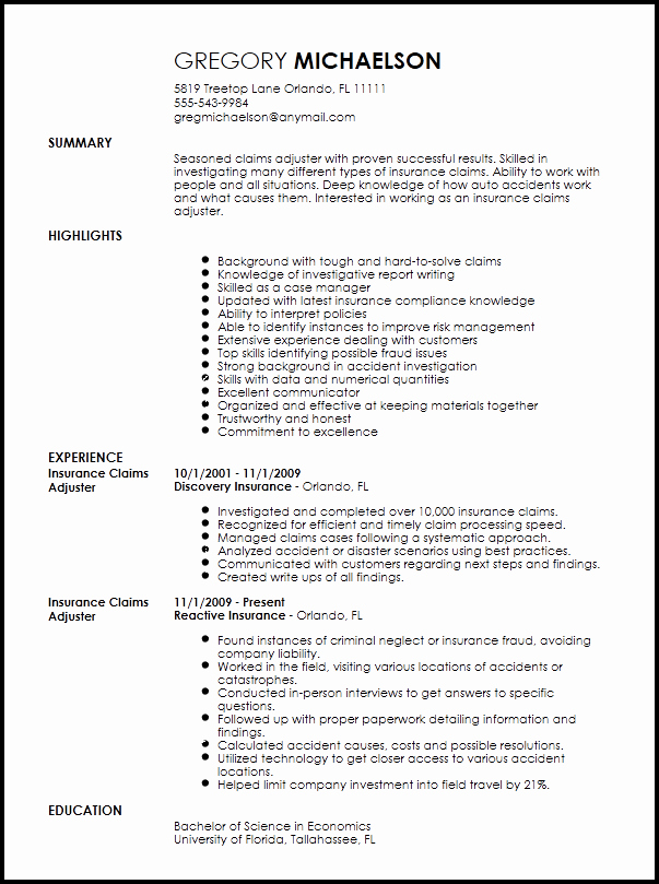 Free Professional Insurance Claims Adjuster Resume
