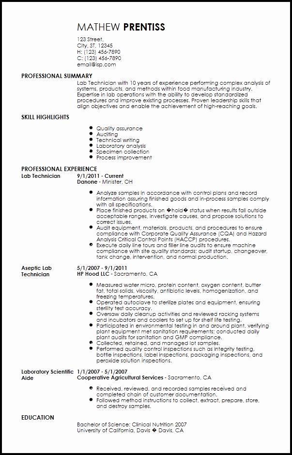 Free Professional Lab Technician Resume Template