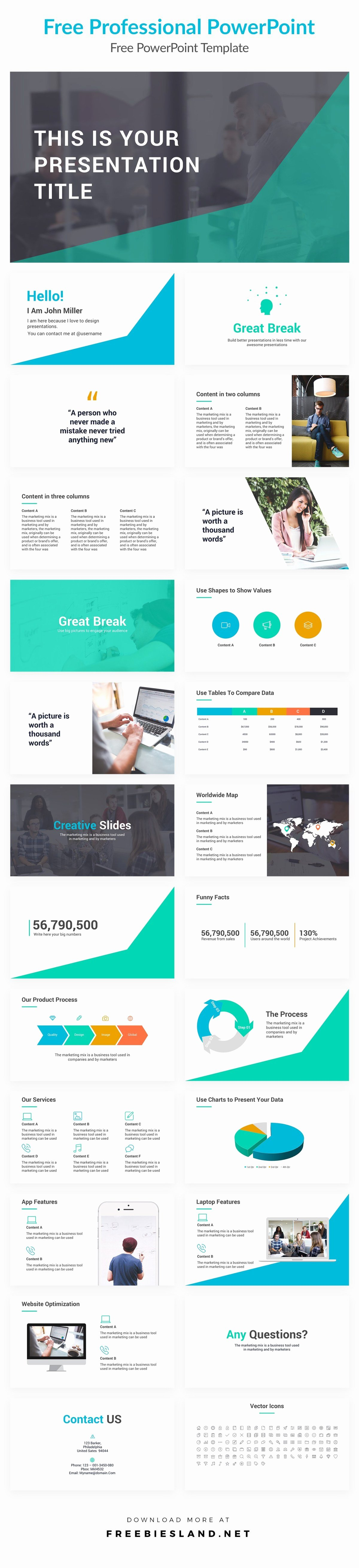 Free Professional Powerpoint Presentation Template Pptx Ppt
