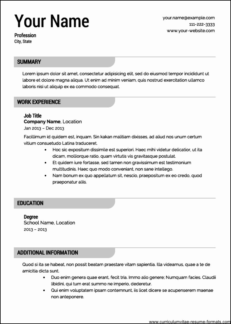 Free Professional Resume Template 2016 Free Samples