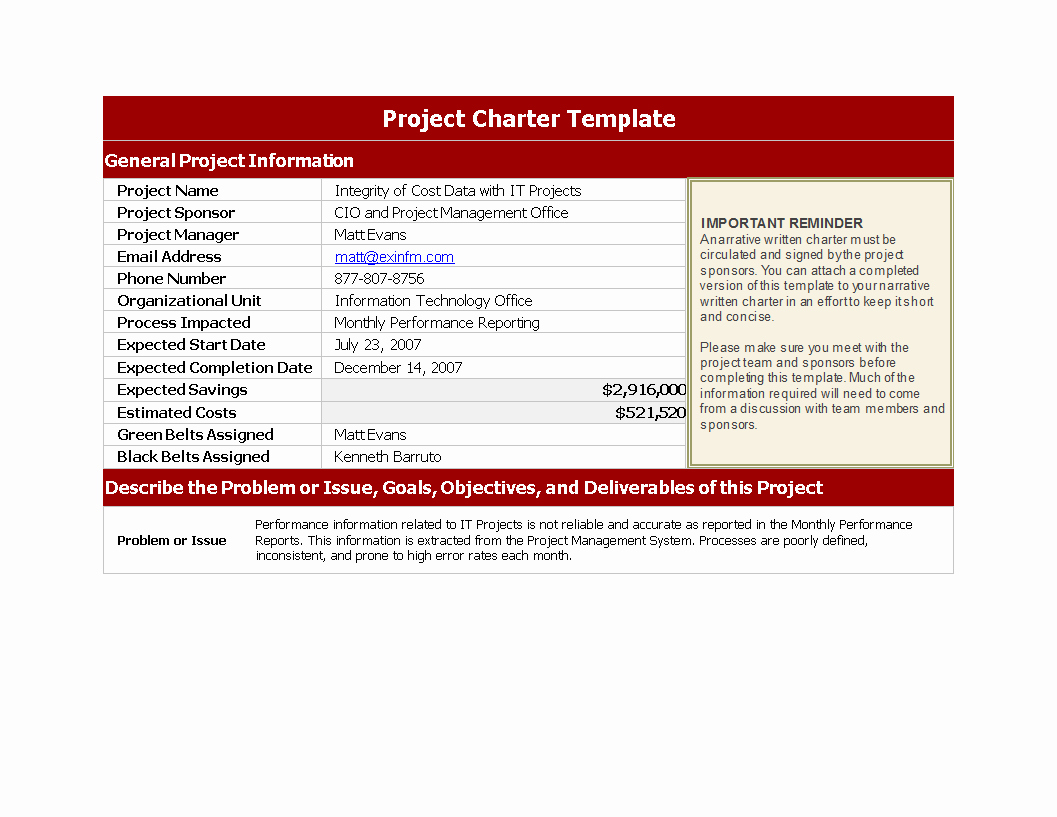 Free Project Charter Template