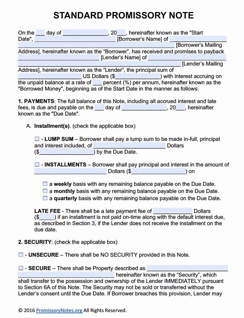 Free Promissory Note Template Adobe Pdf & Microsoft Word