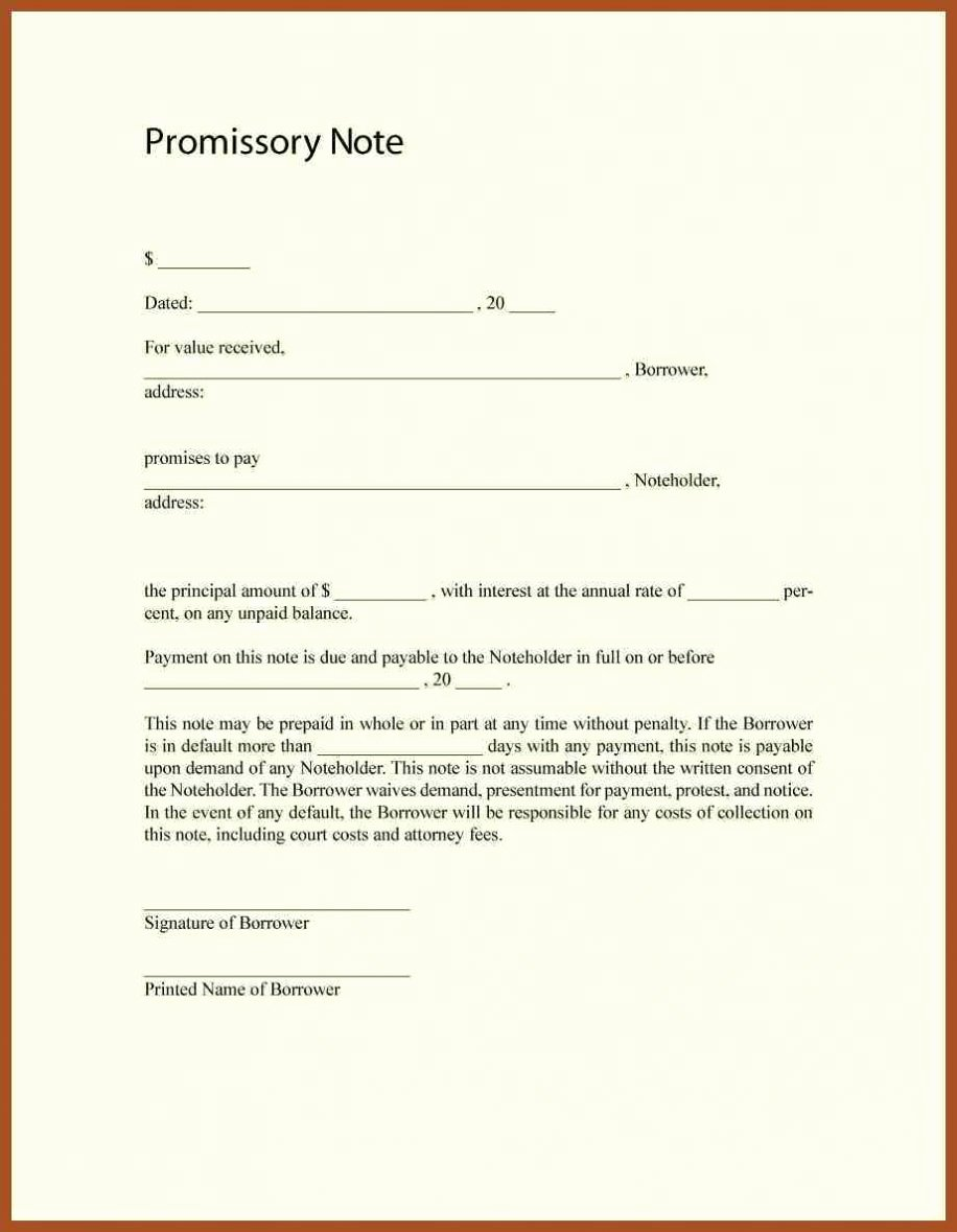 Free Promissory Note Template Word Pdf