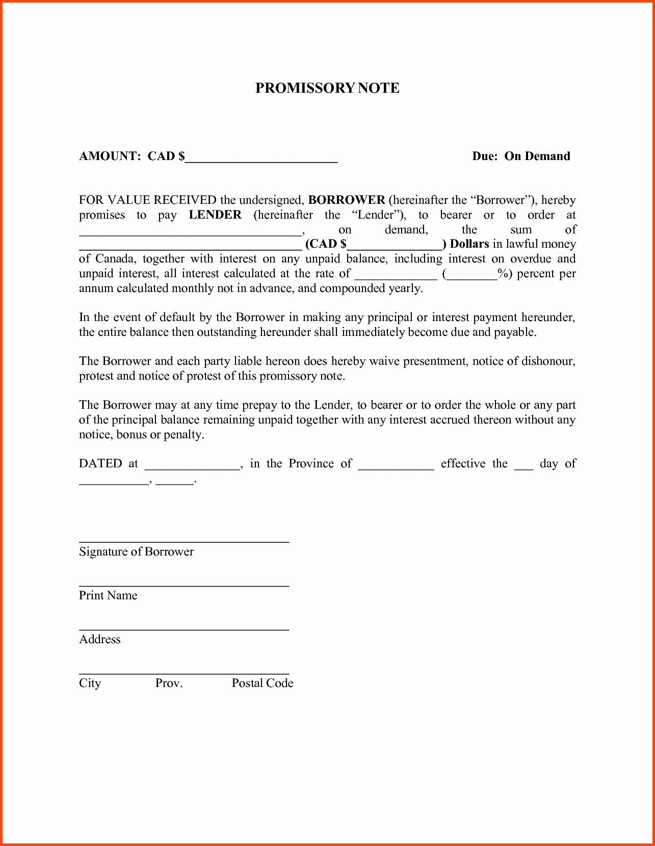 Free Promissory Note Templates Bamboodownunder