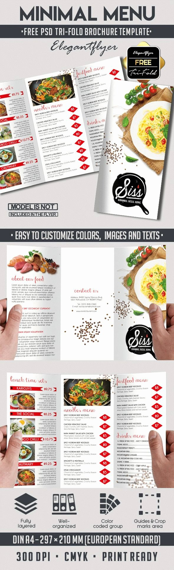 Free Psd Brochure for Minimal Menu – by Elegantflyer