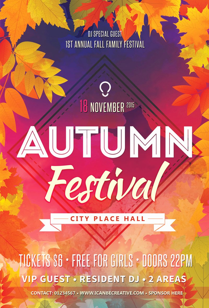 Free Psd Flyer Templates for Autumn Сelebration Party