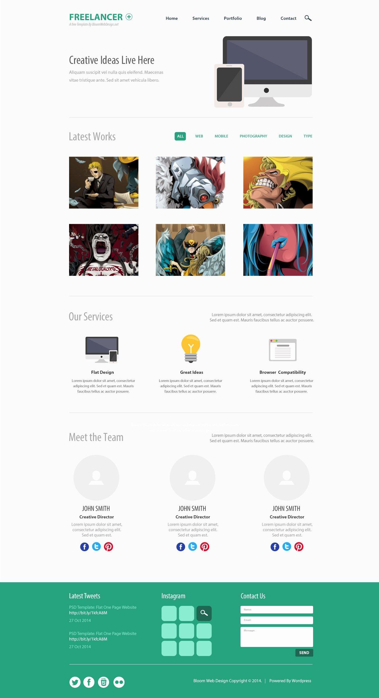 Free Psd Minimalist E Page Website Template Designbump