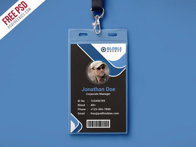 Free Psd Multipurpose Dark Fice Id Card Psd Template