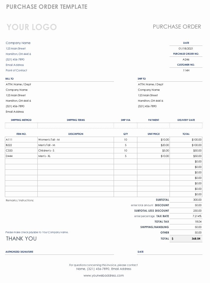 Free Purchase order Templates