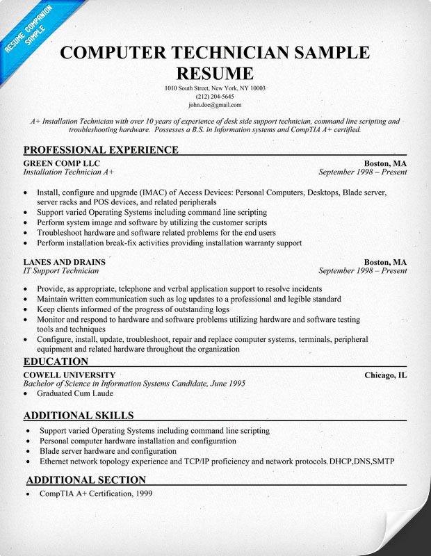 Free Puter Technician Resume Example Resume Panion