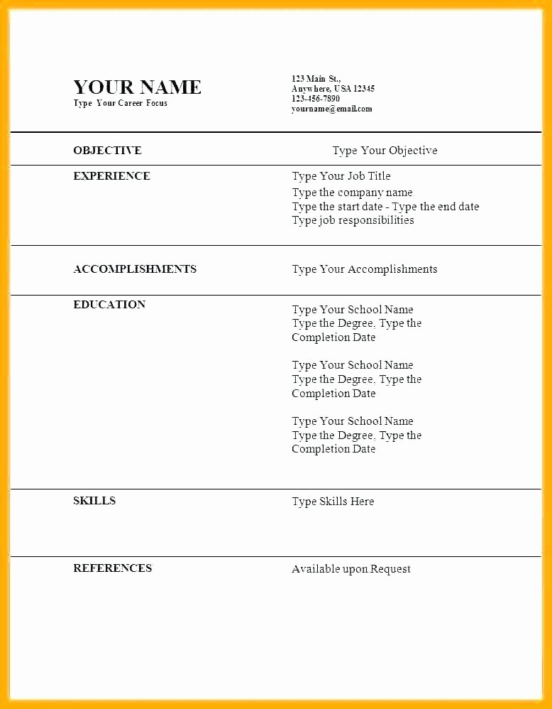 Free Quick Easy Resume Templates Template Word Download